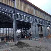 Commercial project - 2140 Carling Rd. - steel framing, steel studs, window arch, parapet concrete granular slab, building before floor