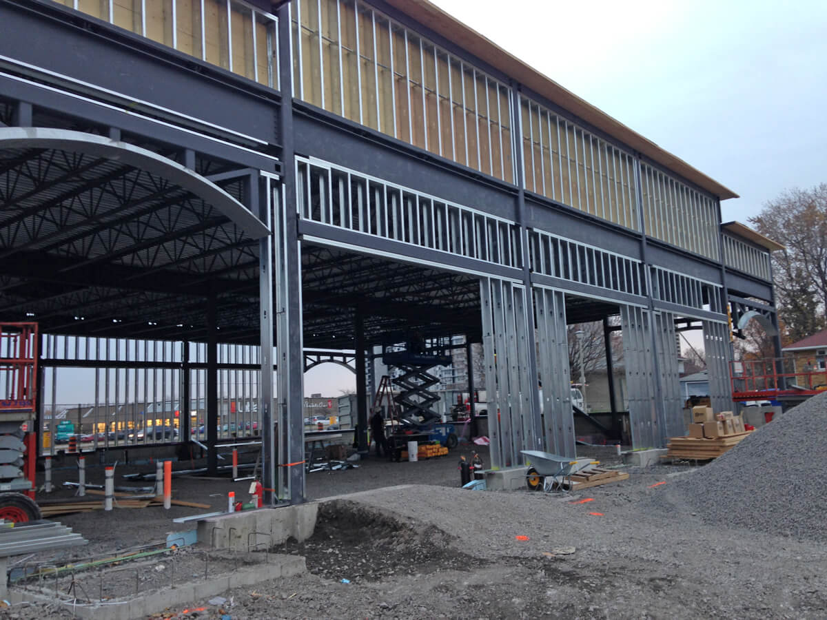 Commercial project - 2140 Carling Rd. - steel framing, steel studs, window arch