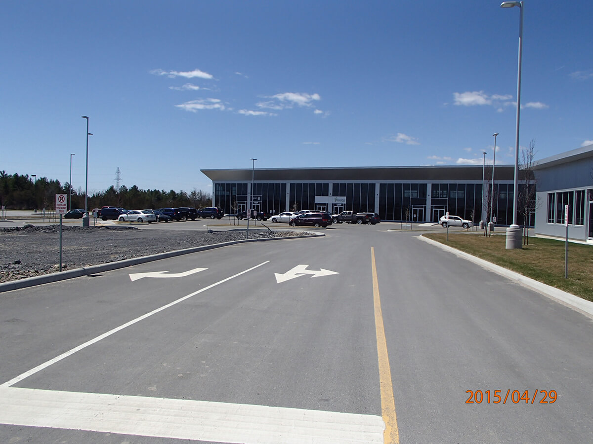 Interior Fit-up project – McIntosh Perry Kingston office – parking lot view