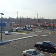 Commercial project - March Rd. - completed site - asphalt, curbs, landscaping, lighting, fencing