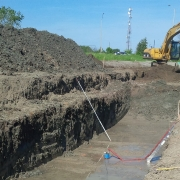 Commercial project - March Rd. - steped excavation, clay deep trenching, water pump, crashwall