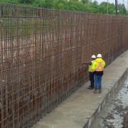 Commercial project - March Rd. - rebar inspection, footing cast in place, concrete crashwall, rebar for wall