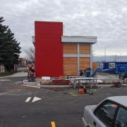 Commercial project - Wendy's at Gardiners Rd., Kingston - flagship store - new design, first in ontario - exterior front view with ACM panels