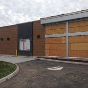 Commercial project - Wendy's at Gardiners Rd., Kingston - flagship store - new design, first in ontario - exterior drive-thru side with wood paneling