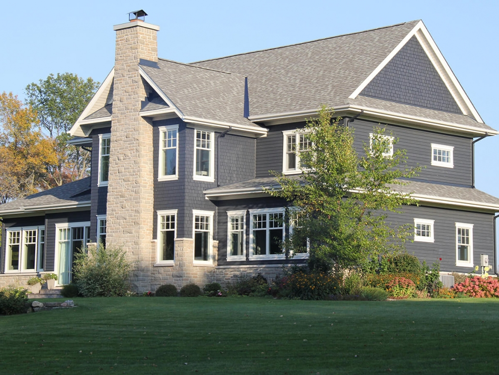 Residential project - blue house with white trim - rear view
