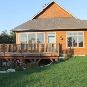Residential project - brown house - back porch view