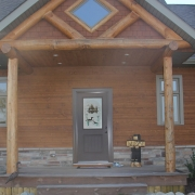 Residential project - brown house - entrance
