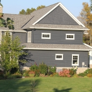 Residential project - blue house with white trim - left side view