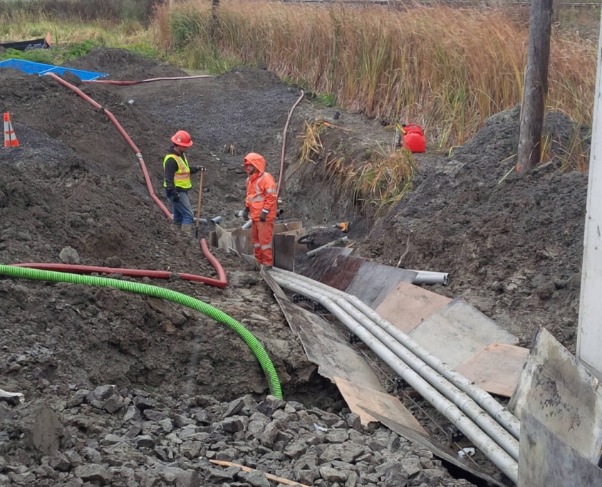 Commercial project - March Rd. - site electrical rail crossing, duct bank trenching, connection at hydro crossing