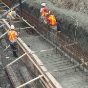 Commercial project - March Rd. - form work, rebar, concrete pumping, footing cast in place, crashwall
