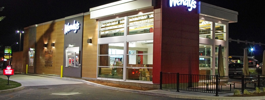 Commercial project - Wendy's at Gardiners Rd., Kingston - flagship store - new design, first in ontario - completed with lighting and signage