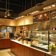 Commercial project - Interior Fit-up - Bridgehead coffeehouse - finished interior, custom millwork, custom counter, hanging lights and coffee machines