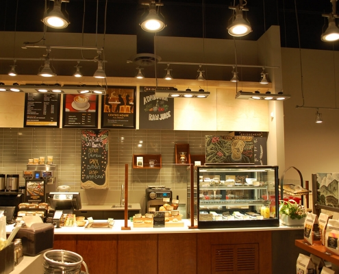 Commercial project - Interior Fit-up - Bridgehead coffeehouse - finished interior, tile backsplash, custom millwork, hanging lights and coffee machines