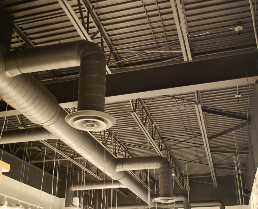 Commercial project - Interior Fit-up - Bridgehead coffeehouse - ceiling details, hvac duct work, roof steel structure